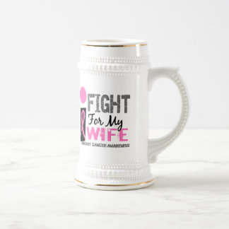 I Fight For My Wife Breast Cancer Beer Stein
