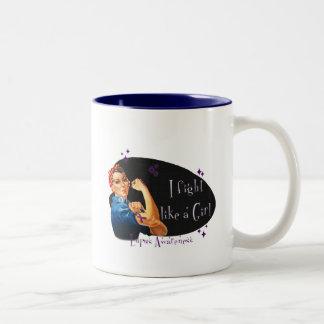 I Fight Like a Girl- Lupus Two-Tone Coffee Mug