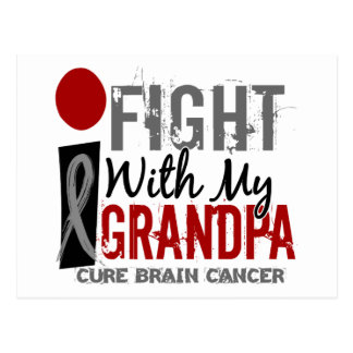 I Fight With My Grandpa Brain Cancer Postcard