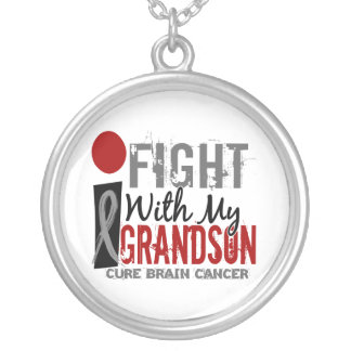 I Fight With My Grandson Brain Cancer Round Pendant Necklace
