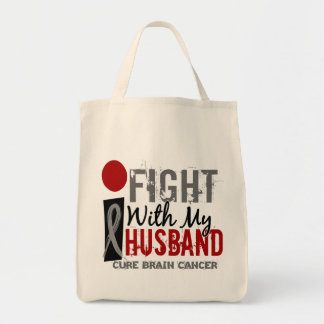 I Fight With My Husband Brain Cancer Tote Bags