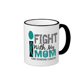 I Fight With My Mom Ovarian Cancer Ringer Coffee Mug