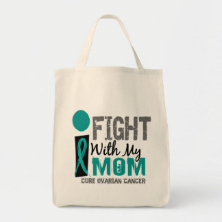 I Fight With My Mom Ovarian Cancer Tote Bag