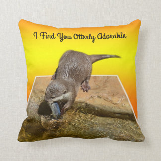 I Find You Otterly Adorable, Otter, Throw Cushion