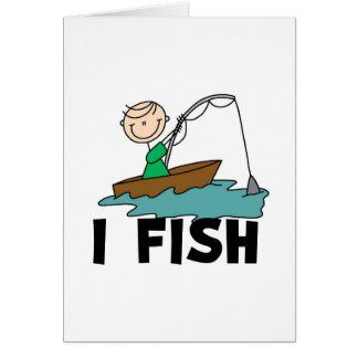 I Fish Boy Stick Figure Card