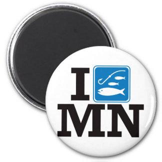 I Fish Minnesota - MN 2 Inch Round Magnet