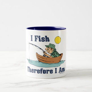 I Fish, Therefore I Am Two-Tone Coffee Mug