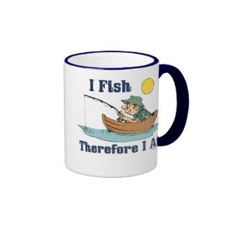 I Fish, Therefore I Am Ringer Coffee Mug