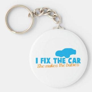 I fix the car- She makes the babies Keychain