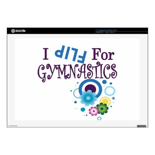 """I Flip for Gymnastics Cool Dot Design Decals For 17"""" Laptops"""