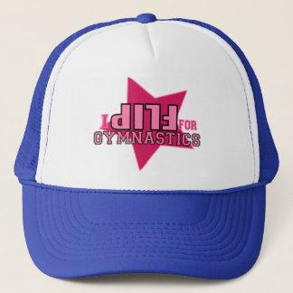 I flip for Gymnastics Girls Pink Black Star Hat