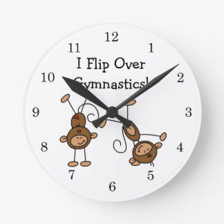 I Flip Over Gymnastics Round Wallclocks