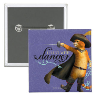 I Flirt With Danger (color) 2 Inch Square Button