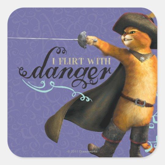 I Flirt With Danger (color) Square Sticker