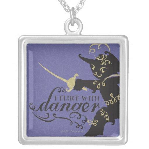 I Flirt With Danger Square Pendant Necklace