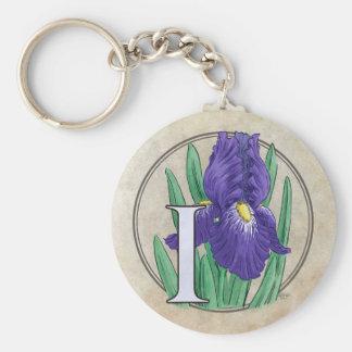 I for Iris Flower Monogram Keychain