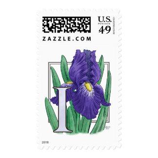 I for Iris Flower Monogram Stamps