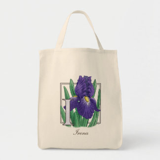I for Iris Flower Monogram Tote Bag