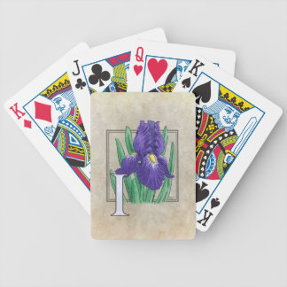 I for Irises Flower Monogram Art Bicycle Playing Cards