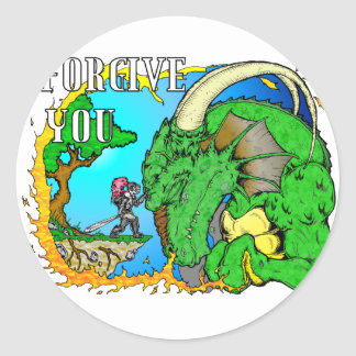 I Forgive Dragon Round Sticker