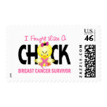 I Fought Like A Chick Breast Cancer Survivor Postage Stamp