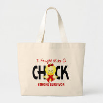 I Fought Like A Chick Stroke Survivor Large Tote Bag