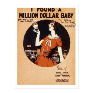 I Found A Million Dollar Baby Vintage Songbook Cov Postcard