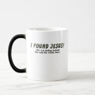 I found Jesus! (He was hiding behind the sofa... Magic Mug