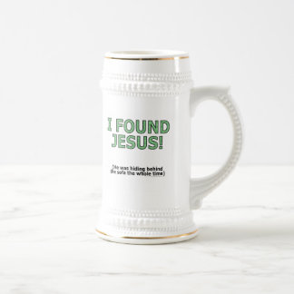 I found Jesus! He was hiding behind the sofa... 18 Oz Beer Stein