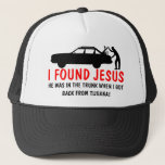 """I found Jesus spoof Trucker Hat<br><div class=""""desc"""">I found Jesus baseball caps with a funny, albeit offensive I found Jesus image and atheist slogan.Funny atheist baseball caps for anyone wanting to claim they found Jesus... in the trunk of the car!</div>"""