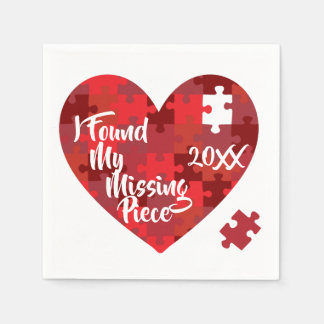 I Found My Missing Piece - Puzzle Heart Paper Napkin