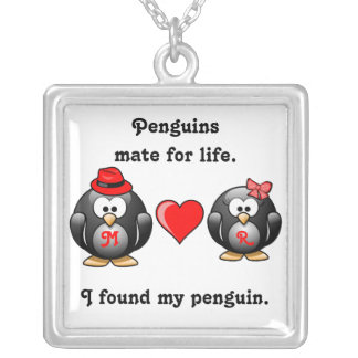 I Found My Penguin Mate for Life Pair Red Heart Custom Necklace