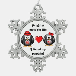 I Found My Penguin Mate for Life Pair Red Heart Snowflake Pewter Christmas Ornament
