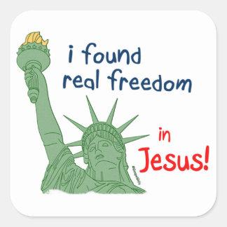 I found real freedom christian design square sticker