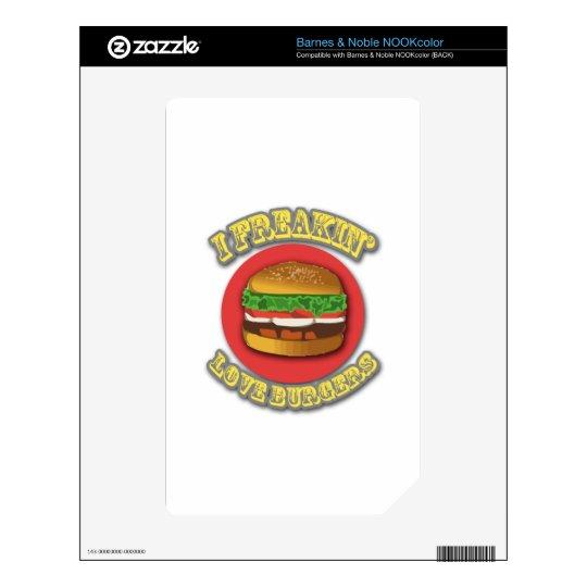 I Freakin' Love Burgers Skin For NOOK Color