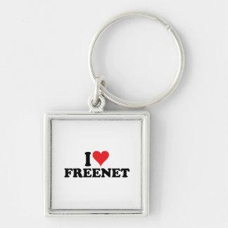 I freenet 1 del corazón llavero cuadrado plateado