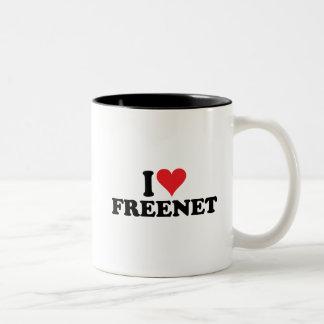 I freenet 1 del corazón taza de café de dos colores
