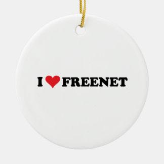 I freenet 2 del corazón adorno redondo de cerámica