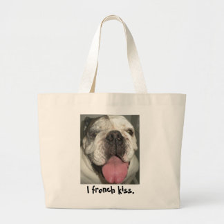 I french kiss. tote bags