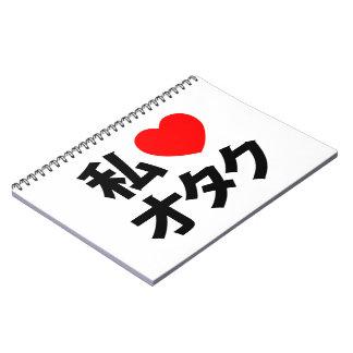 I friki del japonés del ~ de Otaku del corazón Libros De Apuntes Con Espiral