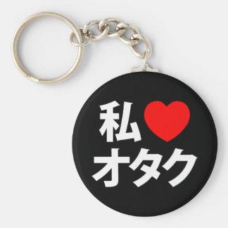 I friki del japonés del ~ de Otaku del corazón Llavero Redondo Tipo Pin