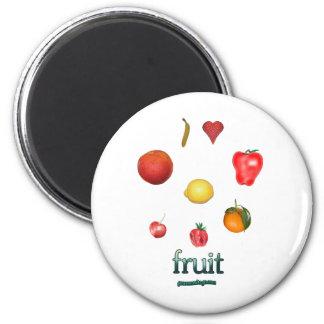 I fruta del corazón imán redondo 5 cm