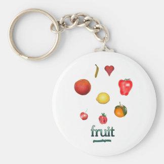 I fruta del corazón llavero redondo tipo pin
