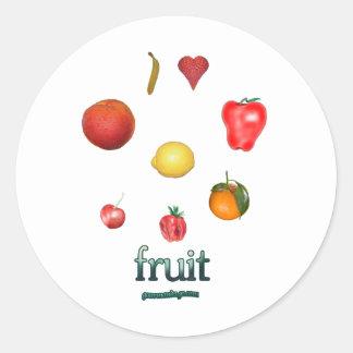 I fruta del corazón pegatina redonda