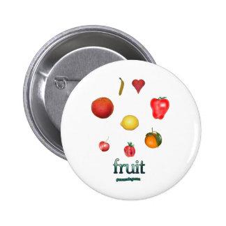 I fruta del corazón pin redondo 5 cm