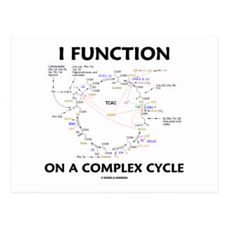 I Function On A Complex Cycle (Krebs Cycle Humor) Postcard