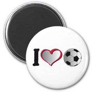 I fútbol del corazón imán redondo 5 cm