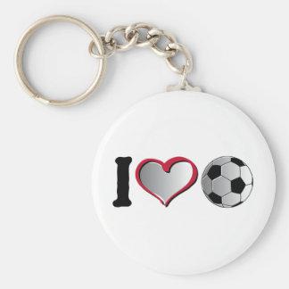 I fútbol del corazón llavero redondo tipo pin