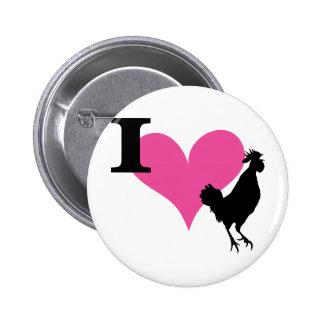 I gallo del corazón pin redondo de 2 pulgadas