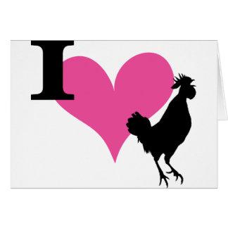 I gallo del corazón tarjeta de felicitación